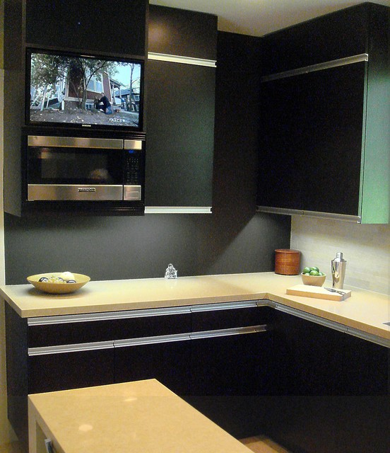 Built In Tv And Microwave Unit Modern Kitchen San