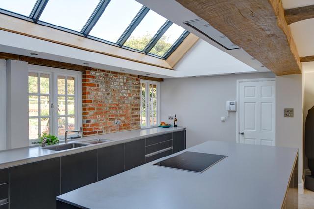 bulthaup dark aluminium kitchen in farmhouse contemporary-kitchen
