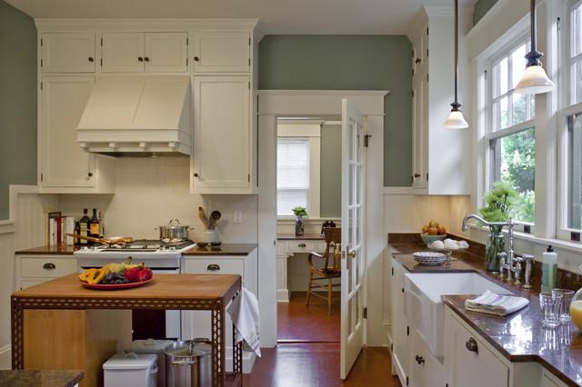 Bungalow kitchen powrie craftsman kitchen portland for Craftsman style kitchen flooring