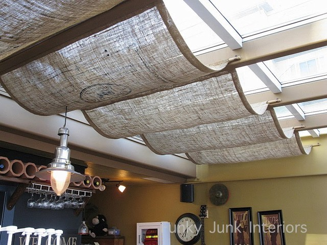 Burlap window shades at a Coffee Shop eclectic kitchen
