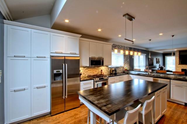 Modern Butcher Block Kitchen Island : Butcher Block Island Counter - Contemporary - Kitchen - Indianapolis - by WrightWorks, LLC