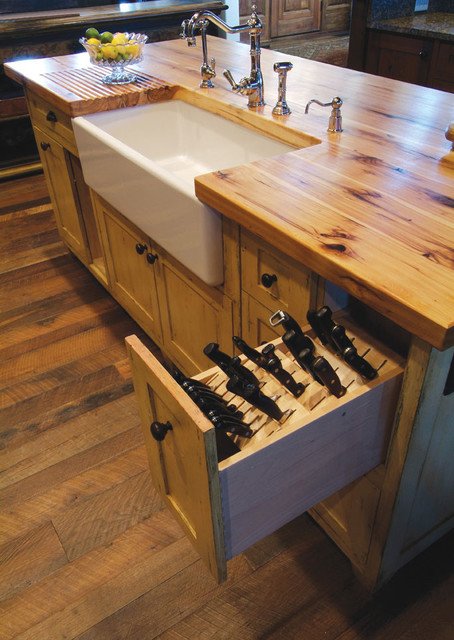 Butcher Block Island With Porcelain Sink And Knive Storage Pullout Drawer Rustic Kitchen Island Ideas Rafael Home