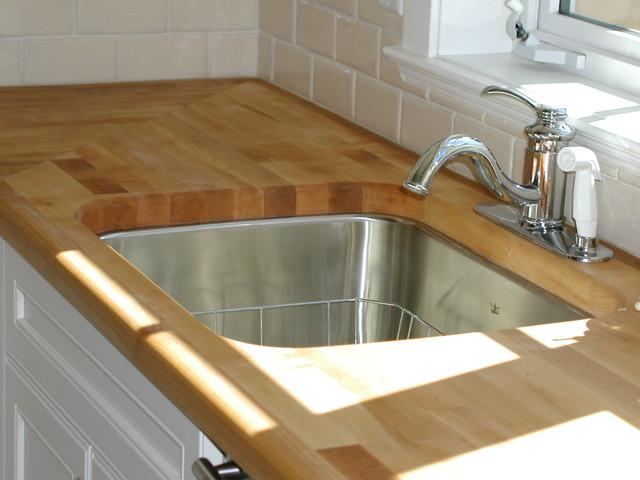 Butcher Block Undermount Sink Traditional Kitchen