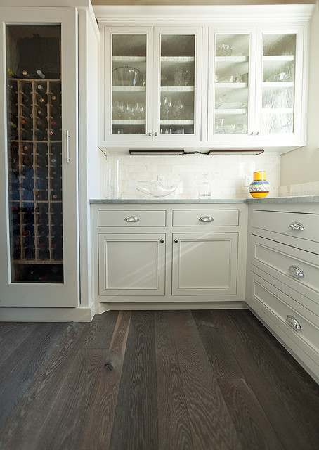 Butlers Pantry Grey FloorWhite Oak Traditional Kitchen - Grey wood floor white kitchen