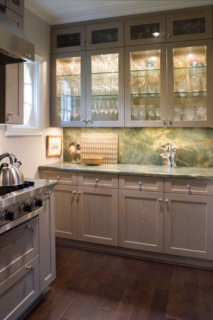 Butler's Pantry With Glass Framed Cabinets