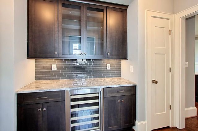 Butler S Pantry With Glass Tile Backsplash Contemporary