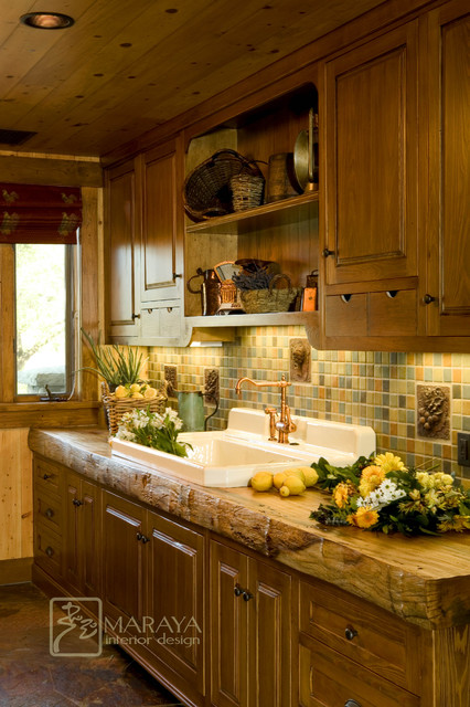 Rustic Farmhouse Kitchen butlers pantry with rustic wood counter - farmhouse - kitchen