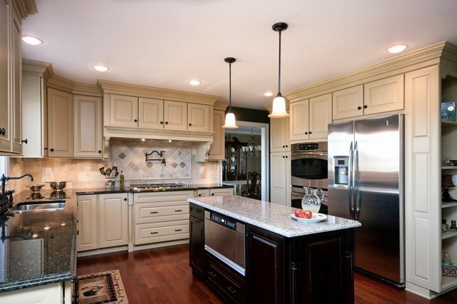 Buttercream and cherry kitchen traditional kitchen for Butter cream colored kitchen cabinets