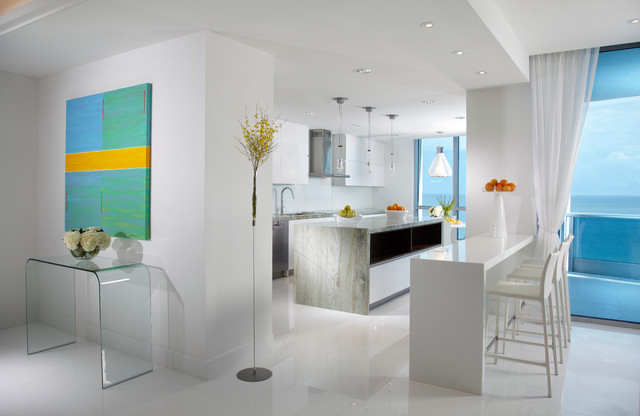 Ordinaire Example Of A Large Trendy Galley White Floor And Marble Floor Eat In  Kitchen Design