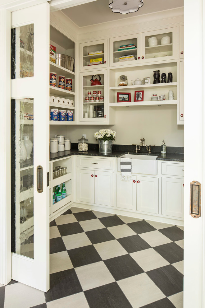 Example of a transitional multicolored floor kitchen pantry design in Minneapolis with a farmhouse sink