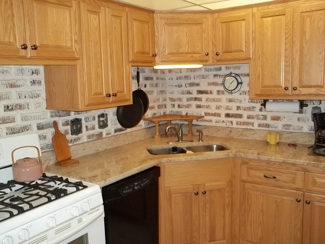 Cabinet Refacing done in Red Oak with square raised panel doors - Traditional - Kitchen ...