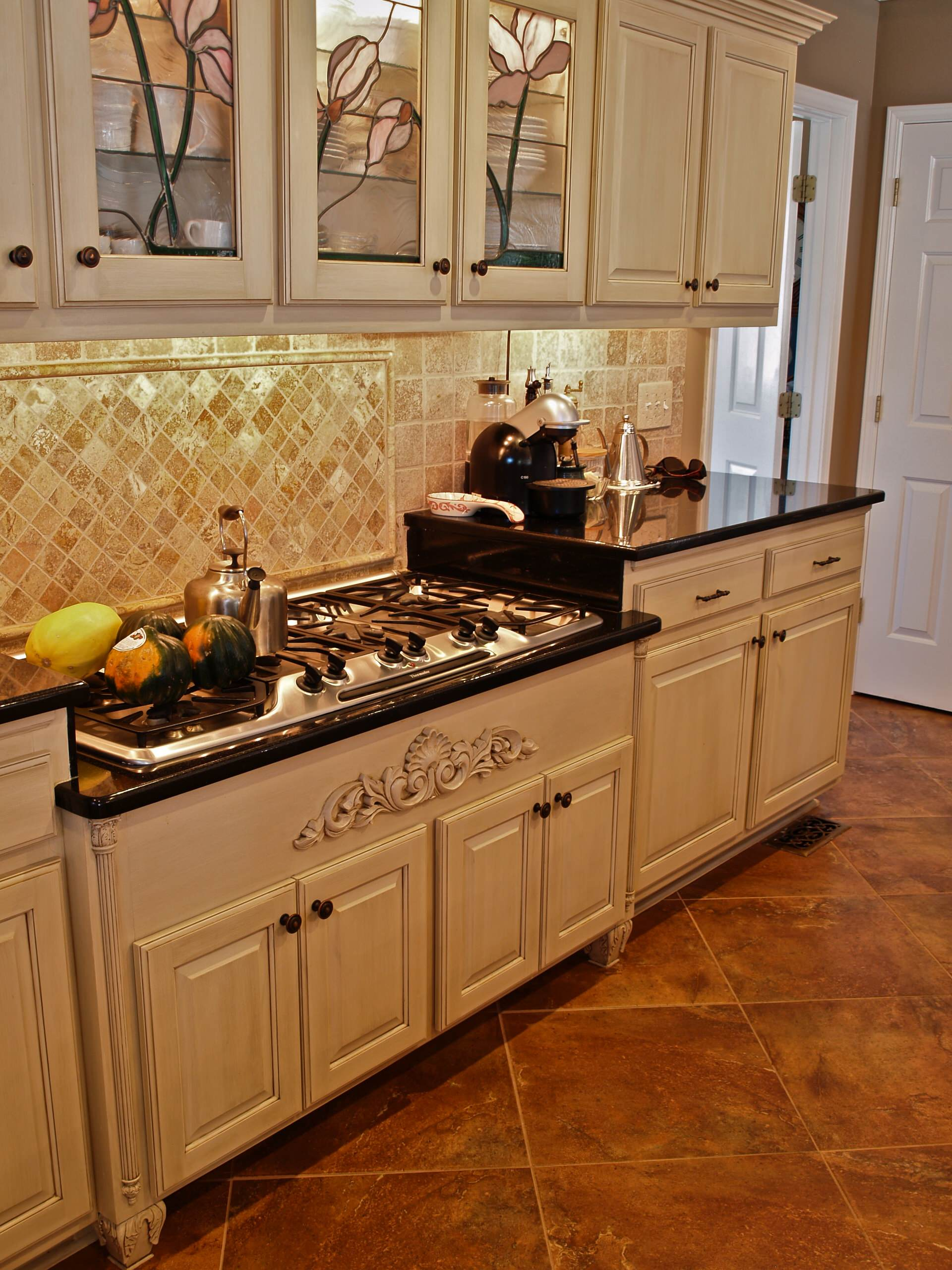 Cabinet Refacing,Stain glass doors, , Off white with glaze