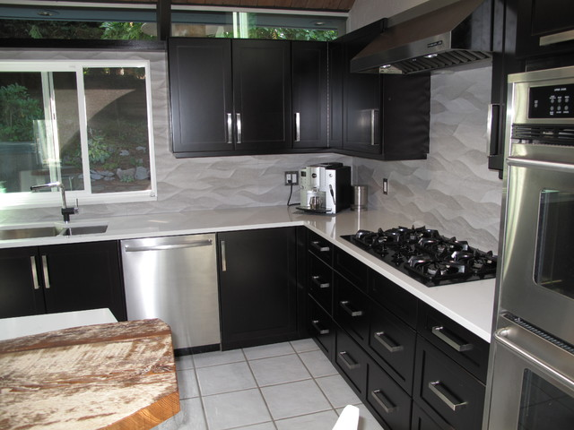 Cabinet Refacing with Espresso stain on Maple veneer - Contemporary - Kitchen - vancouver - by ...
