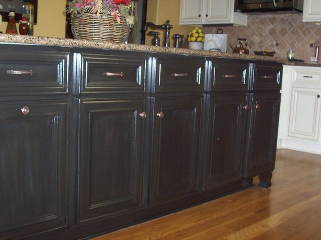 Cabinet refinish black cabinets faux finish wood finishes for Finished kitchen cabinets