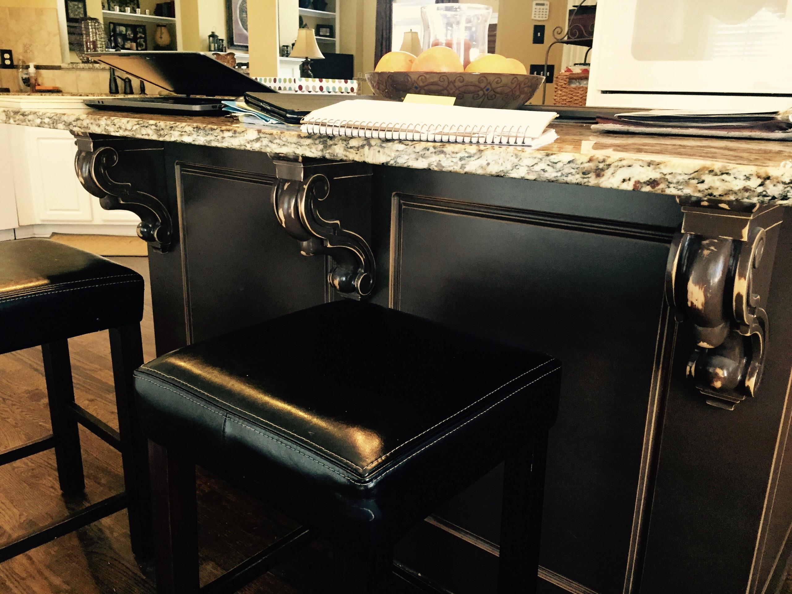 Cabinet Refinishing,Distressed piano black.