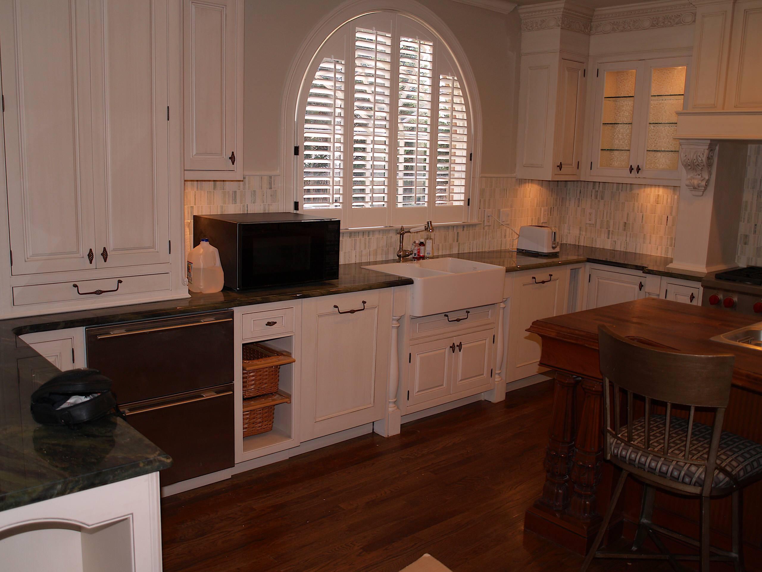 Cabinet Refinishing.Lite off white faux.Custom sink.