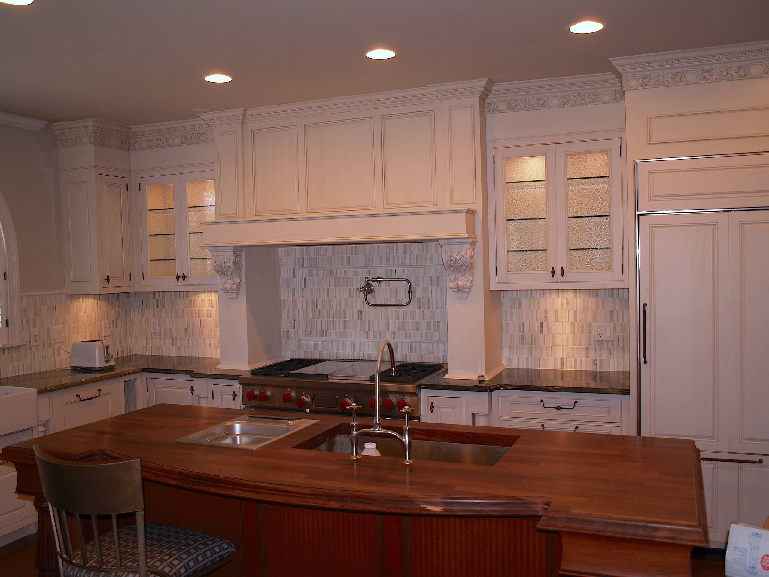 Cabinet Refinishing,Off white with lit gray glaze