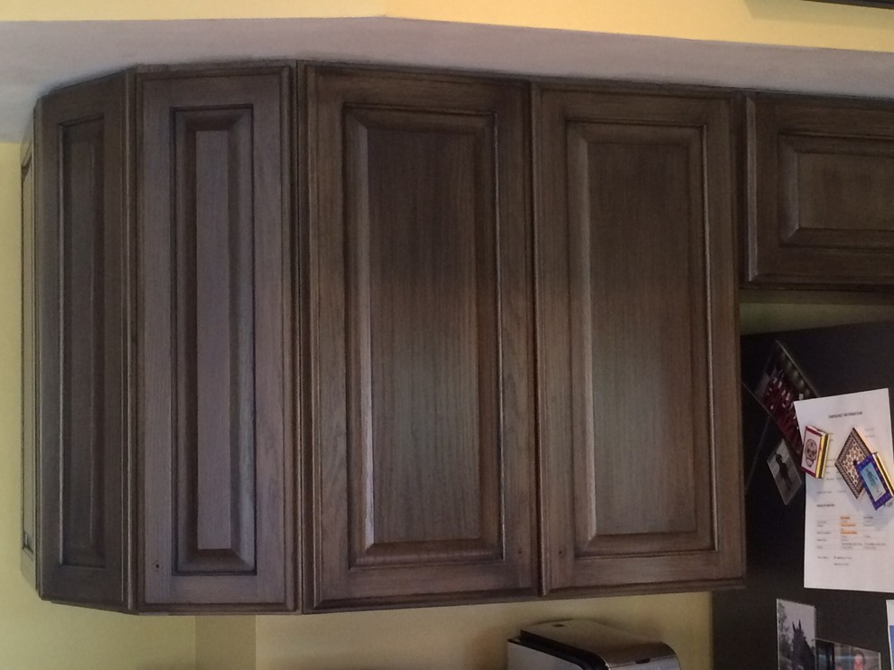 Arts and crafts kitchen photo in Cincinnati with dark wood cabinets and raised-panel cabinets