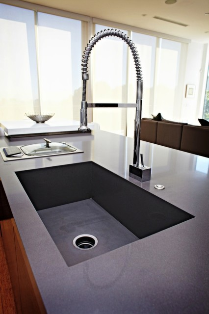 Inspiration For A Contemporary Kitchen Remodel In Seattle With An  Integrated Sink And Quartz Countertops