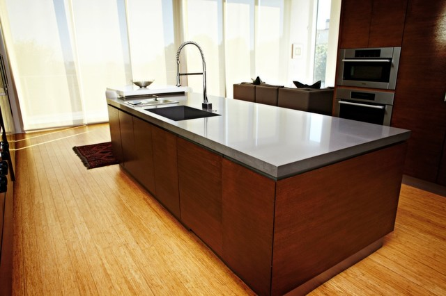 Kitchen Island With Countertop : Quartz Concrete Kitchen Island Countertop - Contemporary - Kitchen ...