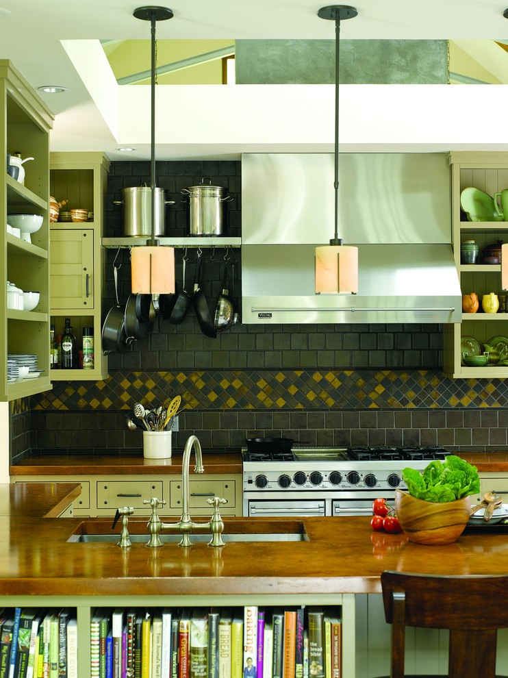 Trendy kitchen photo in Seattle with stainless steel appliances, copper countertops, a single-bowl sink, open cabinets and green cabinets