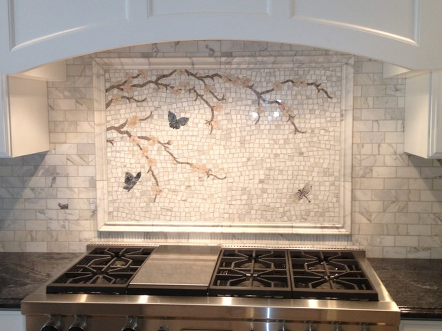 Calacatta Gold Mosaic Backsplash Transitional Kitchen Dc Metro