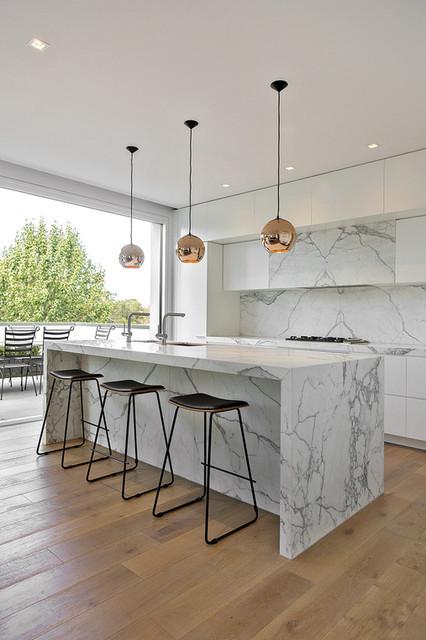 Peachy Calacatta Marble Projects Modern Kitchen Melbourne Machost Co Dining Chair Design Ideas Machostcouk