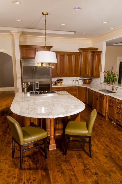 Calcutta Gold Marble Kitchen Island  Traditional  Kitchen  seattle