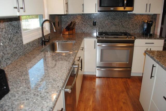 "Tops and Backsplash, Laminate Floors, White ""Rohe"" Cabinets - Kitchen ..."