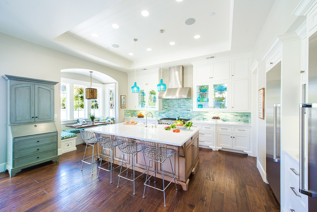 california beach house remodel - beach style - kitchen - los