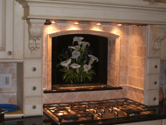 calla lily and iris backsplash With kitchen cabinets lowes with calla lily wall art