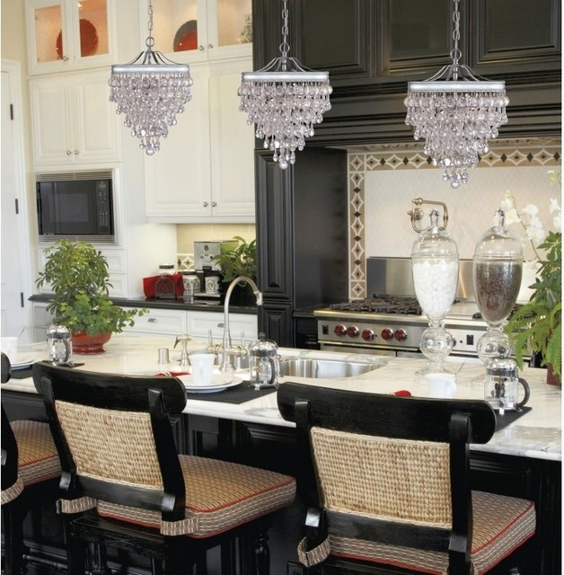 calypso glass drop crystal pendant chandelier contemporary kitchen