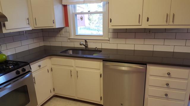 Calypso Silestone Countertops And Subway Tile Backsplash Farmhouse Kitchen