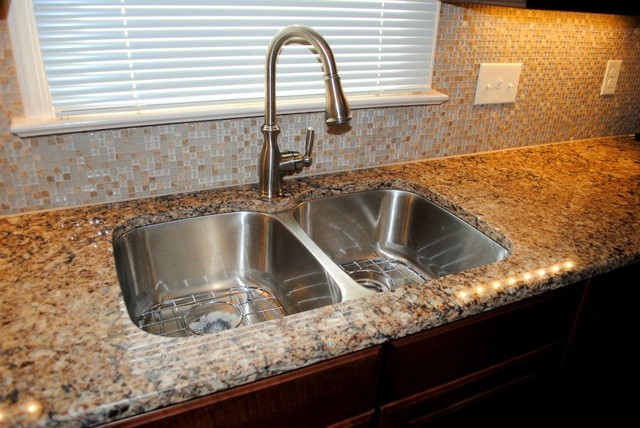 Cambria canterbury quartz brushed nickel fixtures for Brushed sage kitchen cabinets