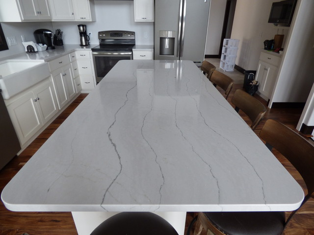 Kitchen Large Contemporary Idea In Other With Raised Panel Cabinets And Quartz Countertops
