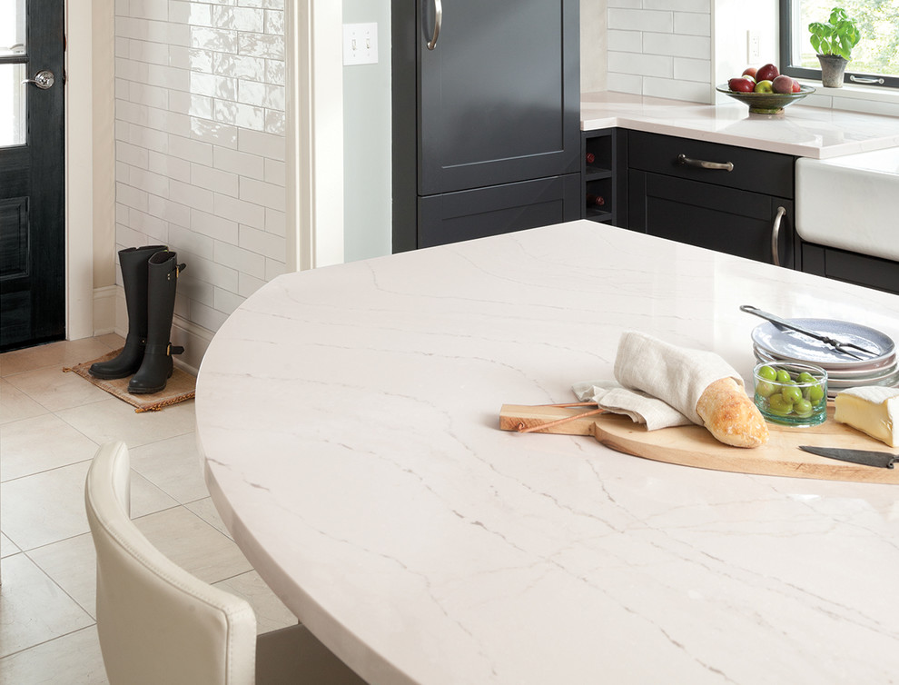 Kitchen - kitchen idea in Miami with quartz countertops