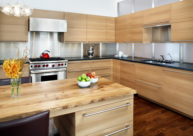 Inspiration For A Contemporary Kitchen Remodel In Boston With Wood  Countertops, Stainless Steel Appliances,