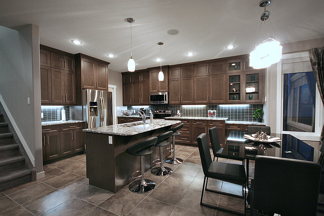 Cameron model show home contemporary kitchen for Modern home decor edmonton