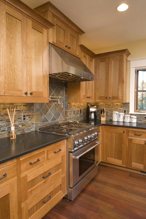 Designing home february 2013 Kitchen colors with natural wood cabinets