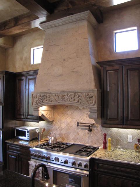 Cantera Stone Vent Hood Mediterranean Kitchen Austin