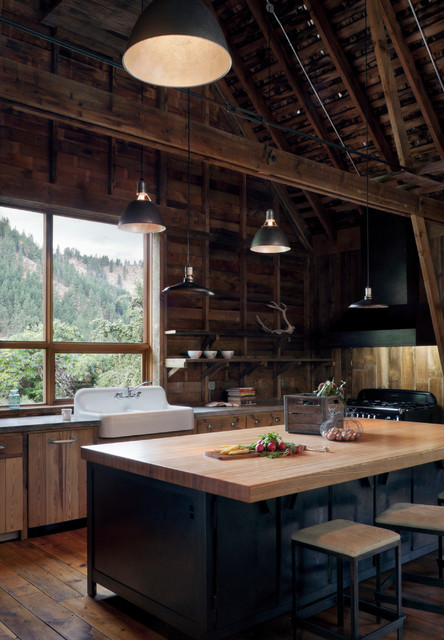 Canyon barn rustic kitchen seattle by mw works for Seattle kitchen designs