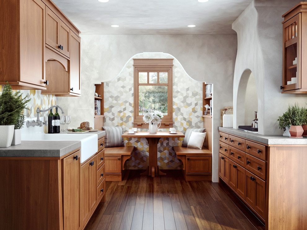 Inspiration for a transitional medium tone wood floor kitchen remodel in Sacramento with a farmhouse sink, shaker cabinets, medium tone wood cabinets, multicolored backsplash and no island