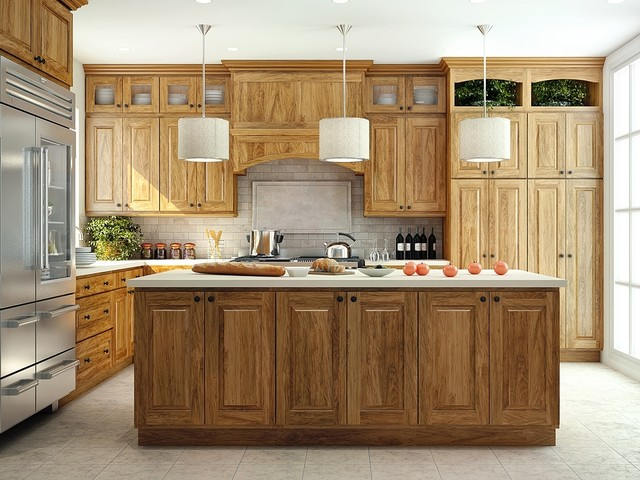 canyon creek cornerstone emersonhickorypecan traditional kitchen - Canyon Kitchen Cabinets