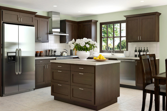 dark brown shaker kitchen cabinets creek cornerstone shaker in beech with a java 290