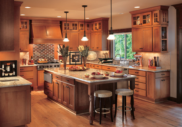 Canyon Creek Cornerstone   Valley Forge In Beech In Two Different Stains  Traditional Kitchen