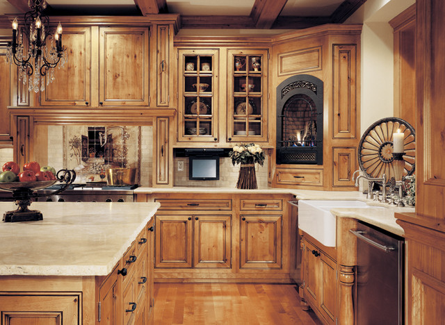 Canyon creek falmouth solid inset rustic alder in honey for Alder wood for kitchen cabinets