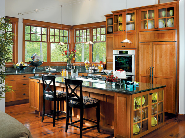 Canyon creek millennia shaker in cherry with a cinnamon for Canyon creek kitchen cabinets