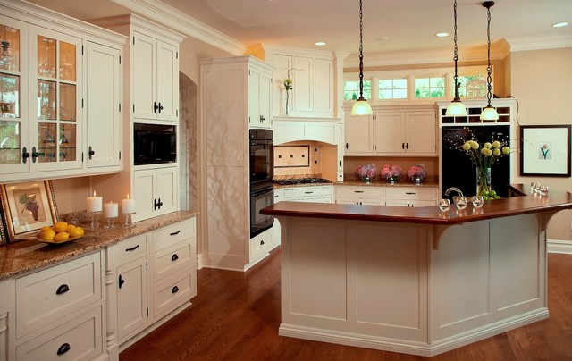 cape cod shingle style lake home traditional kitchen