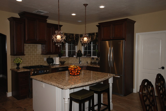 Cappuccino chocolate cherry bradshaw traditional for Kitchen cabinets 999