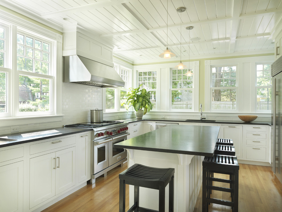 Kitchen - country kitchen idea in Providence with stainless steel appliances